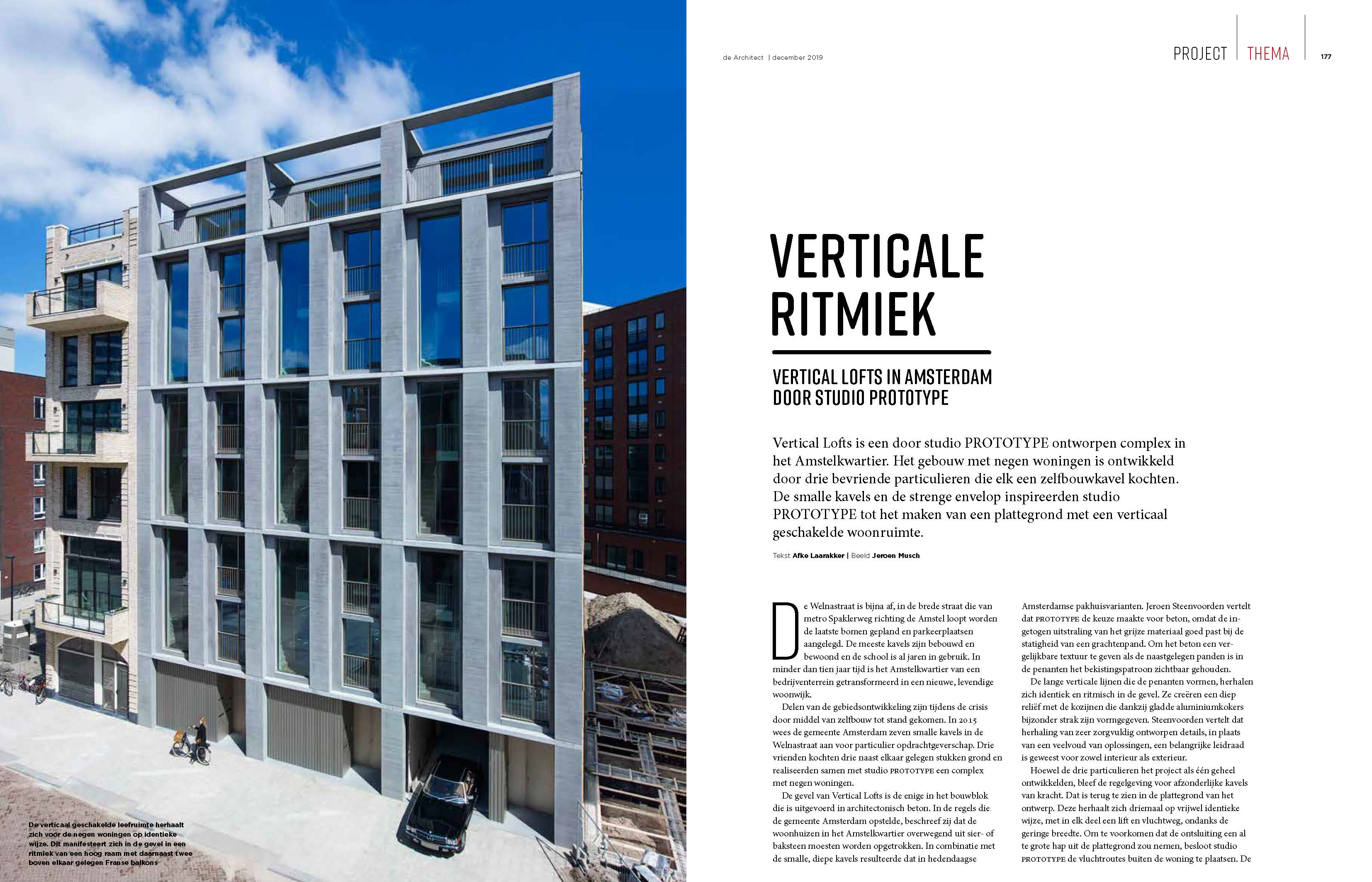 ARTIKEL VERTICAL LOFTS IN MAGAZINE 'DE ARCHITECT'