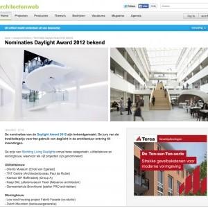 WATERVILLA GENOMINEERD VOOR DAYLIGHT AWARD 2012