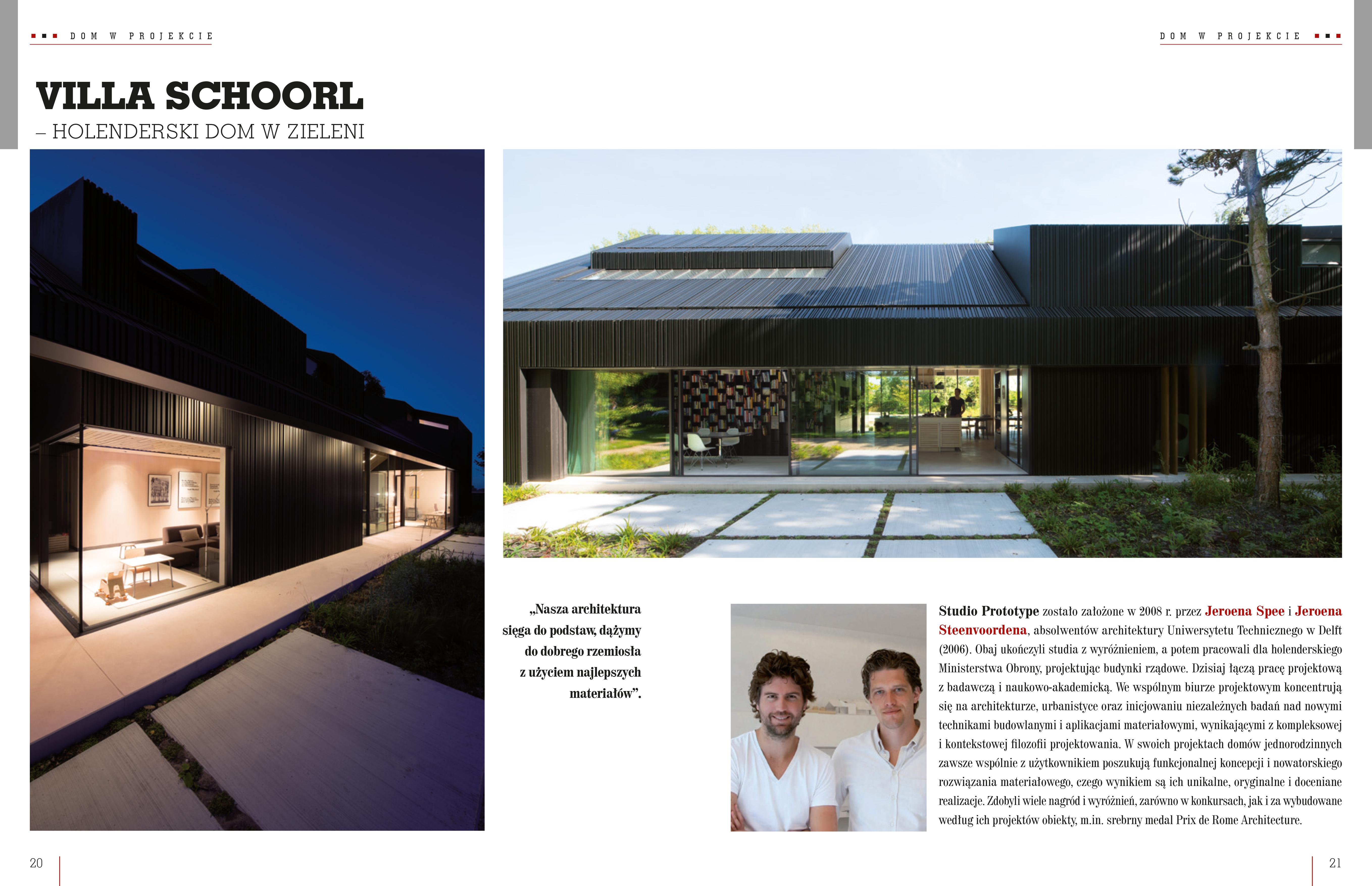 VILLA SCHOORL GEPUBLICEERD IN SWIAT ARCHITEKTURY (PL)